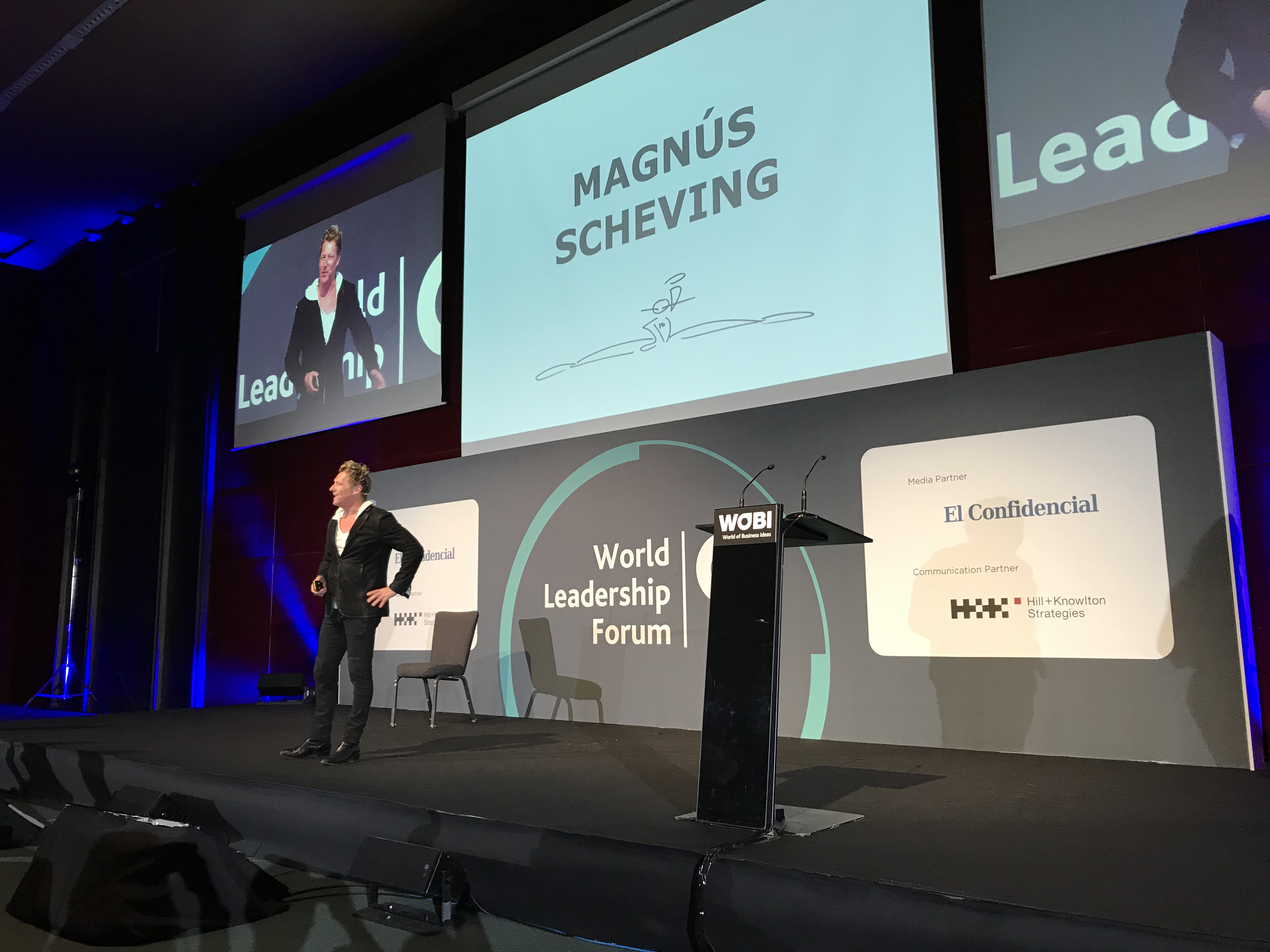 Magnus Scheving speaking at WOBI Barcelona
