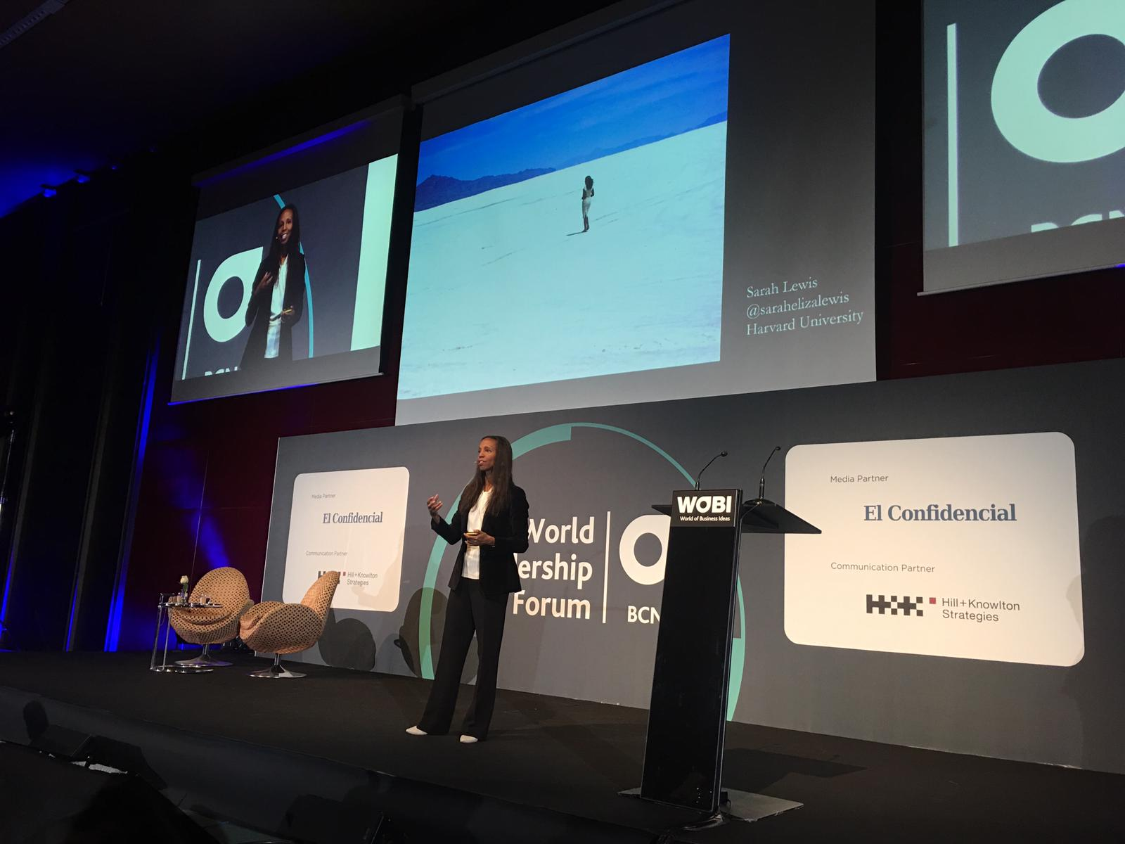 Sarah Lewis speaking at WOBI Barcelona